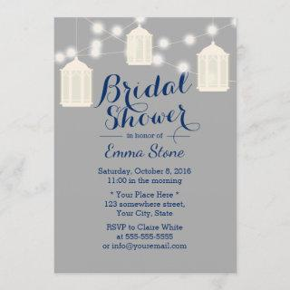 Vintage Lanterns Grey & Navy Blue Bridal Shower Invitation