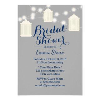 Vintage Lanterns Grey & Navy Blue Bridal Shower Invitations