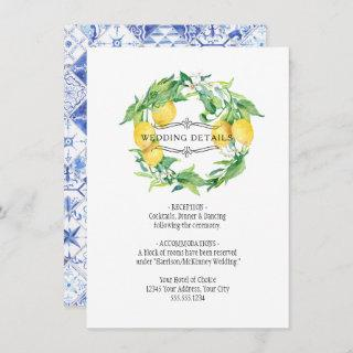 Vintage Lemon Floral Citrus Foliage Wedding Detail Invitations