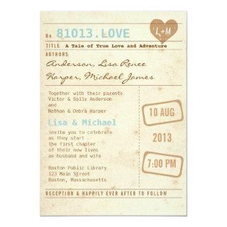 Vintage Library Card Wedding Invitations
