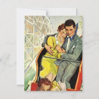 Vintage Love and Romance Roller Coaster Invitations