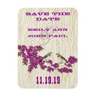 Vintage Love Birds Cherry Blossom Save the Date Magnet