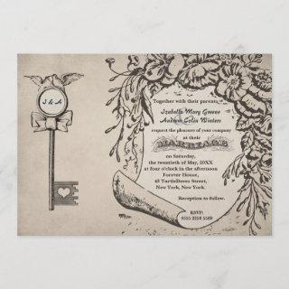 Vintage Love Key and Turtle Doves Wedding #V0 Invitation