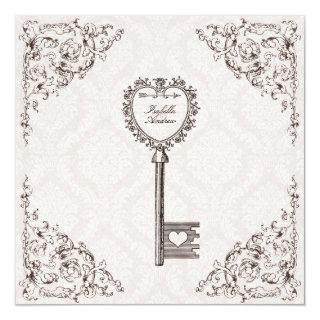 Vintage Love Key Wedding Invitations