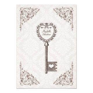 Vintage Love Key Wedding Invitation #V1