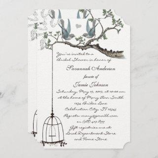 Vintage Lovebird Birdcage Bridal Shower Invitations