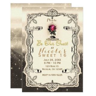 Vintage Magical Enchanted Rose Be our Guest Party Invitations