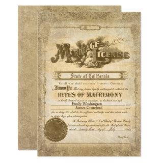 Vintage Marriage Certificate Invitation