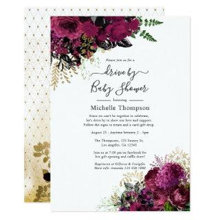 Vintage Marsala and Gold Drive By Shower Invitation