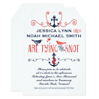 Vintage Modern Coral Bird Navy Nautical Wedding Invitations