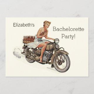 Vintage Motorcycle Girl and Beer Bachelorette Invitation