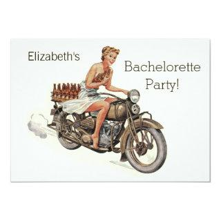 Vintage Motorcycle Girl and Beer Bachelorette Invitations
