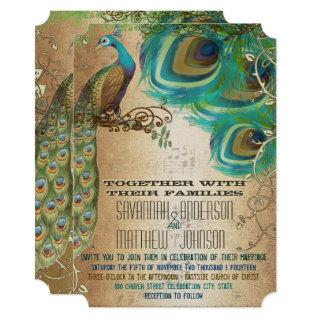 Vintage Musical PlayBill Golden Peacock Feathers Invitations