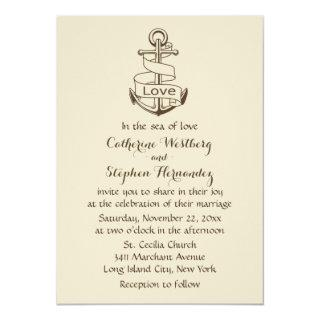 Vintage Nautical Wedding Ship Anchor Brown  Tan Invitation