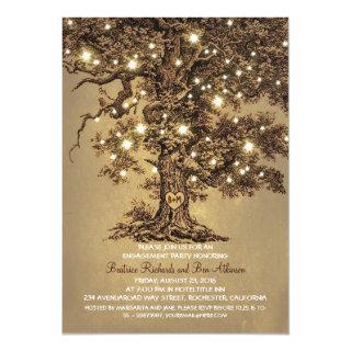 vintage old oak tree rustic engagement party Invitations