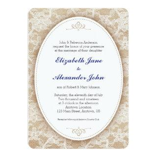 Vintage Oval on Burlap and Lace Wedding Invitations