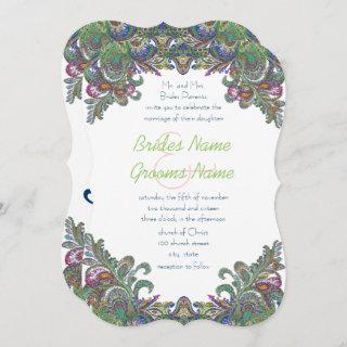 Vintage Paisley Raspberry and Green Peacock Colors Invitations
