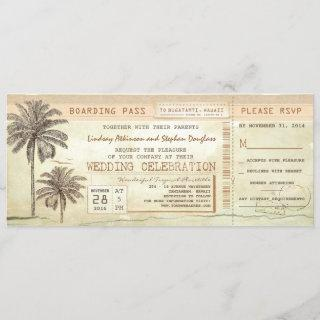 Vintage Palms Seaside Boarding Pass Wedding Ticket Invitation