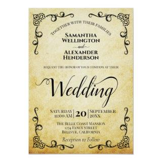 Vintage Parchment Elegant Calligraphy Wedding Invitation