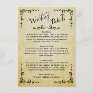 Vintage Parchment Elegant Wedding Details Enclosure Card