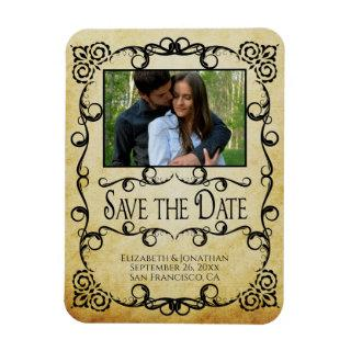 Vintage Parchment Elegant Wedding Save the Date Magnet