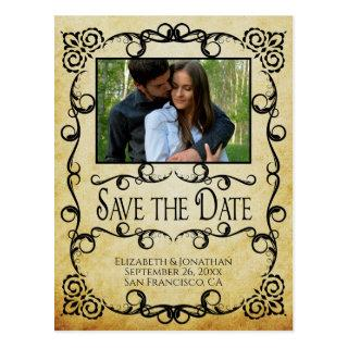 Vintage Parchment Ornate Wedding Save the Date Postcard