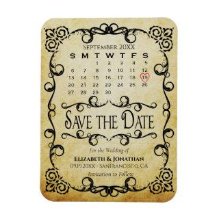 Vintage Parchment Wedding Save the Date Calendar Magnet