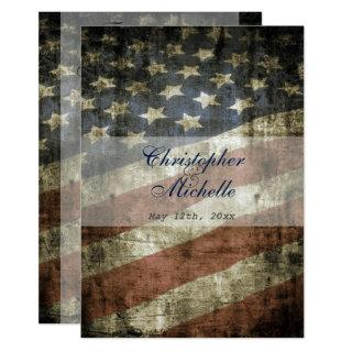 Vintage Patriotic US Flag Wedding RSVP and Invitations