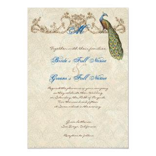 Vintage Peacock & Etchings Wedding Invitation
