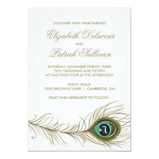 Vintage Peacock Feather Formal Wedding Invitation