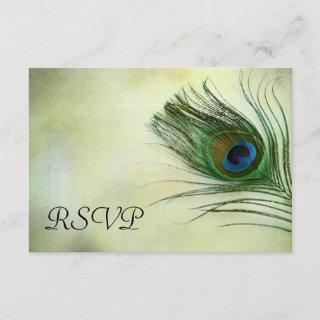 Vintage Peacock Feather Wedding RSVP Response Card
