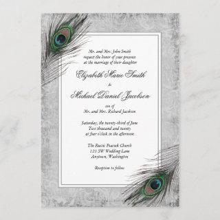 Vintage Peacock Feathers Gray Wedding