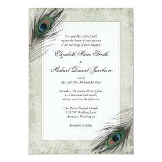 Vintage Peacock Feathers Wedding Invitations