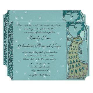 Vintage Peacock Wedding Invitation