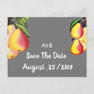 Vintage Pear  Orchard - Rustic wedding Announcement Postcard