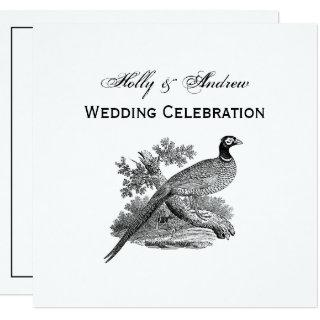 Vintage Pheasant Game Bird Drawing BW Invitations