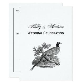 Vintage Pheasant Game Bird Drawing BW Invitation