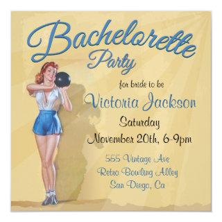 Vintage Pin up Bowling Bachelorette Party Invitations
