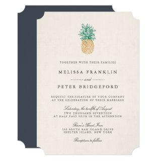 Vintage Pineapple Wedding Invitations