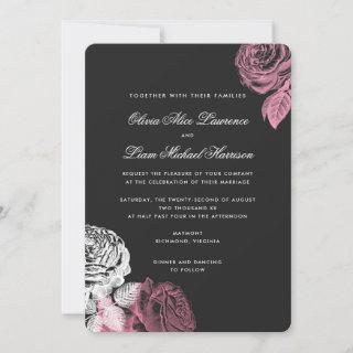 Vintage Pink and White Roses Wedding Invitation