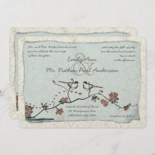 Vintage Pink Love Bird Cherry Blossom Wedding Invitations