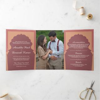 Vintage Pink Traditional Indian Arch Wedding Tri-Fold Invitations