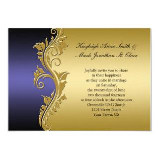 Vintage Purple Black and Gold Wedding Invitations