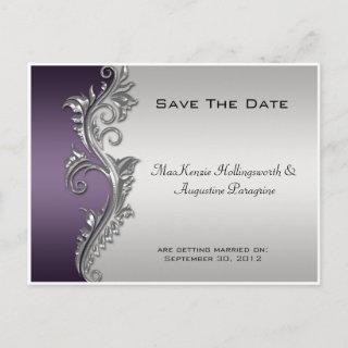 Vintage Purple Black and Silver Save The Date #2 Announcement Postcard