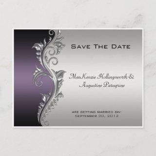 Vintage Purple Black and Silver Save The Date Announcement Postcard