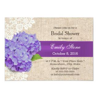 Vintage Purple Floral Laced Burlap Bridal Shower Invitation