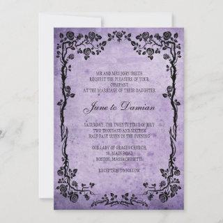 Vintage Purple Floral Wedding Invitations
