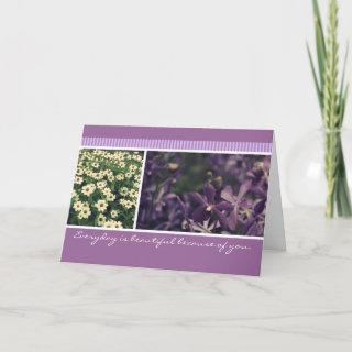 Vintage purple orchid and white dryas floral photo card
