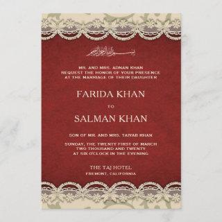 Vintage Red and Beige Lace Islamic Muslim Wedding Invitations