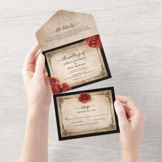 Vintage Red Rose Gold Black Parchment Wedding All In One Invitations